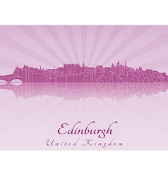 Edinburgh skyline in purple radiant orchid vector