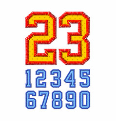 Embroidered font numbers vector