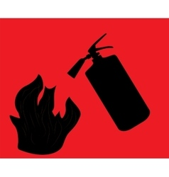 Fire Extinguisher which extinguishes fire on Red vector image vector image