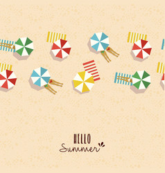 Hello summer card pattern of girls on beach vector
