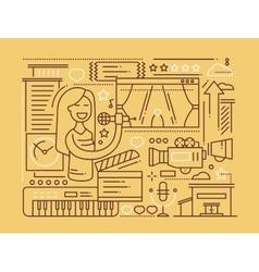 Karaoke - line design composition vector