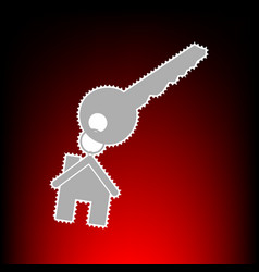 Key with keychain as an house sign postage stamp vector