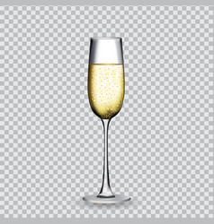 naturalistic glass with festive champagne on vector image