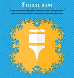 Paint brush sign icon artist symbol floral flat vector