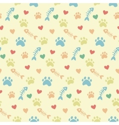 Pattern with cats paw prints vector