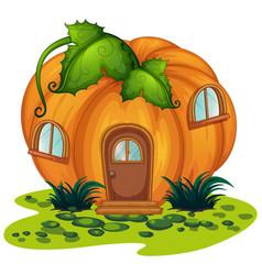 pumpkin house in the garden vector image vector image