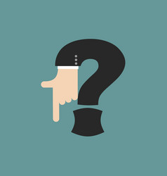 question mark businessman hand font it shows vector image vector image