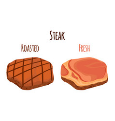 roasted and fresh steak pork made in flat style vector image vector image