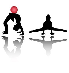 Silhouettes of girl gymnasts vector