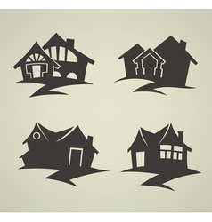 traditional homes emblems vector image vector image