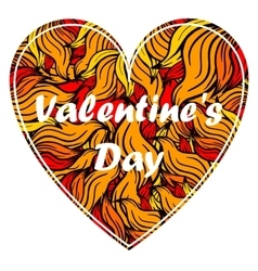 Valentine s day heart with spurts of flame vector