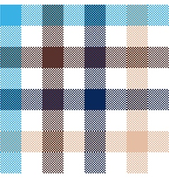Blue beige check plaid seamless fabric texture vector