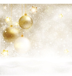 White golden winter Christmas background vector image