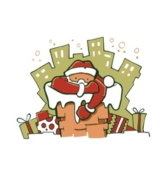 Santa gets out from the vector image