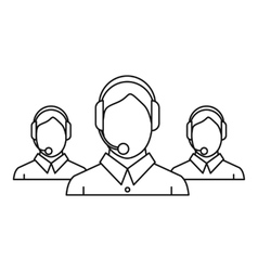 Call center workers icon outline style vector