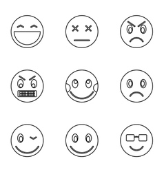 Round smileys icons set outline style vector image