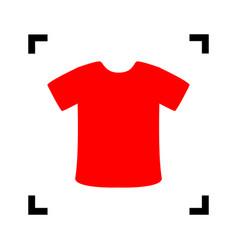 T-shirt sign red icon inside black focus vector