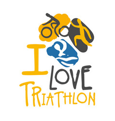 i love triathlon logo colorful hand drawn vector image
