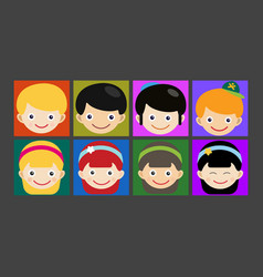 Girl portrait fun happy boy head expression cute vector