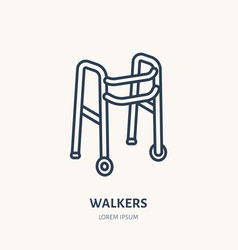 Walkers line icon logo for rehabilitation vector