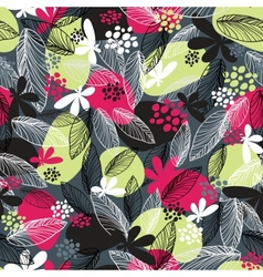 Floral seamless pattern on black background vector