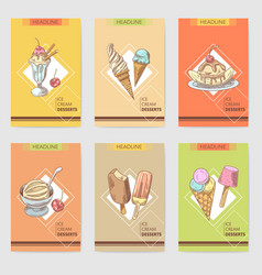 Ice cream and desserts hand drawn cards brochure vector