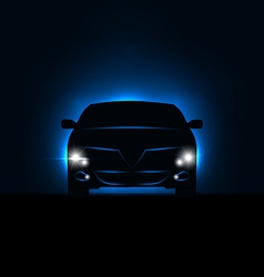 Silhouette of car with headlights in darkness vector
