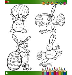 Easter bunnies cartoons for coloring book vector