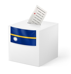Ballot box with voting paper nauru vector