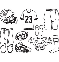 American Footbal Equipment - hand-drawn vector image