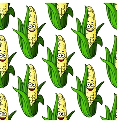 Ripe corn seamless pattern vector image