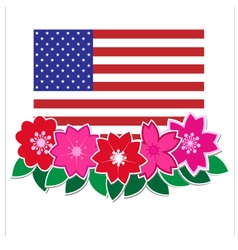 Flag american with flower vector