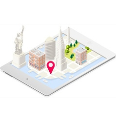 Tablet city 01 maps isometric nyc map 01 building vector