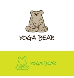 Cartoon bear in yoga pose logo cute vector