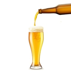 Beer pouring realistic vector