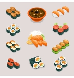 Asia food icons rolls sushi miso soup and vector