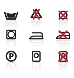 Laundry care symbols and signs icons vector