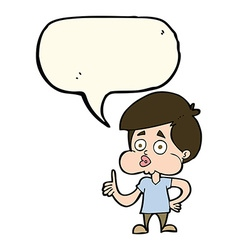 Cartoon boy giving thumbs up with speech bubble vector