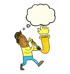 Cartoon man blowing saxophone with thought bubble vector