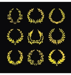 Set of gold wreaths vector