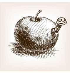 Apple fruit hand drawn sketch style vector