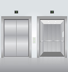Realistic chrome opened and closed elevator doors vector