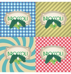 Four types of retro textured labels for broccoli vector