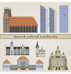 Munich colored landmarks vector
