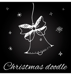 Christmas bell in doodle style vector