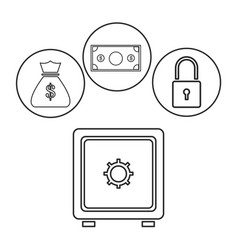 Box safe money security bag money dollar outline vector