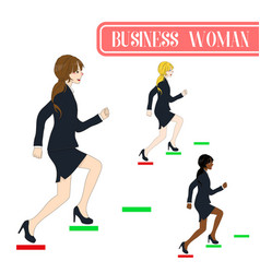 business woman running to the top vector image vector image
