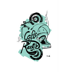Cafe racer print t-shirt motorcycle helmet vector