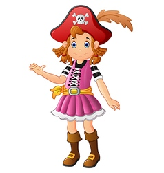 Cartoon lady pirate presenting vector