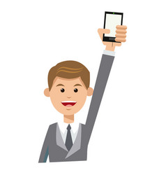 character man young suit tie and holding vector image